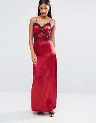 Атласное платье-сорочка с кружевной отделкой Boohoo - Wine
