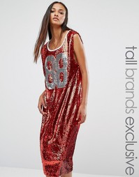Университетское платье‑майка миди в стиле oversize Liquor & Poker Tall