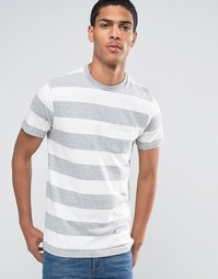 Celio Crew Neck Pocket T-shirt with Marl Stripe - Серый