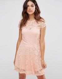 Кружевное платье мини Vero Moda - Розовая пыль