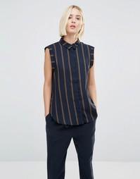 Полосатая рубашка без рукавов Selected Louay - Темно-синий