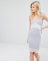 Missguided Petite Contrast Lace Slip Dress - Серый