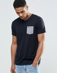 Черная футболка слим с контрастным карманом Hollister - Черный