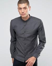 Строгая рубашка слим в горошек Hugo By Hugo Boss - Черный
