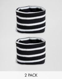 Комплект из 2 трикотажных браслетов в полоску ASOS - Черный