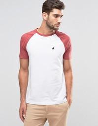 Бело-красная футболка с контрастными рукавами и логотипом ASOS