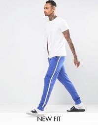 Синие зауженные джоггеры в стиле casual с белыми полосками ASOS