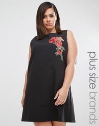 Цельнокройное платье с вышивкой Boohoo Plus - Черный