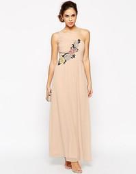 Платье макси на одно плечо с ажурной отделкой Elise Ryan - Розовый