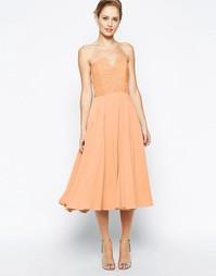 Платье миди с кружевным лифом Jarlo Violetta - Оранжевый