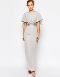 Платье макси с накидкой и декоративной отделкой на талии Elise Ryan - Серый