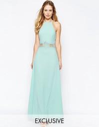 Платье макси с высоким воротом и кружевной вставкой Jarlo Aden - Кремовый