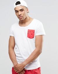 Пляжная футболка с овальным вырезом и карманом Ringspun - Белый