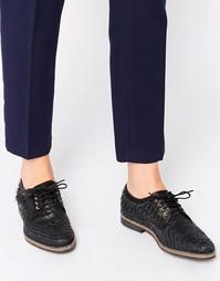 Кожаные туфли на плоской подошве со шнуровкой Miista Hayley - Черный