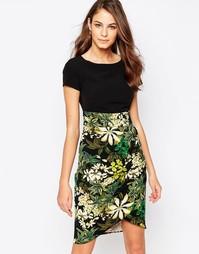 Платье с драпировкой на юбке и принтом Closet - Черный