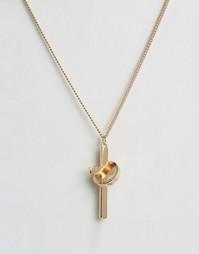 Золотистое ожерелье с крестиком Chained & Able - Золотой
