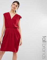 Y.A.S Tall Amber Wrap Front Drape Detail Dress - Красный