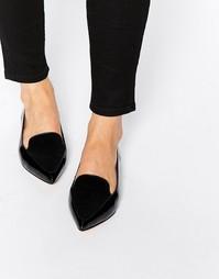 Черные лакированные туфли на плоской подошве с острым носком Dune Austine - Черный
