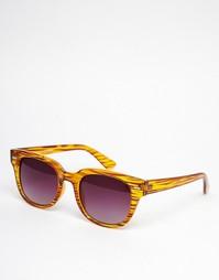 Квадратные солнцезащитные очки в коричневой полосатой оправе AJ Morgan Match - Черный