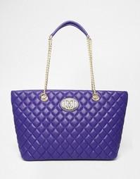 Стеганая сумка-тоут Love Moschino - Фиолетовый