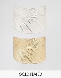 Два браслета с отделкой в виде перьев Nylon - Золотой