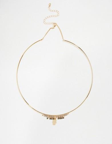 Ожерелье-воротник с подвеской хамса Nylon - Золотой