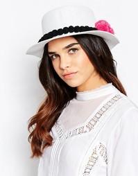 Соломенная шляпа с помпонами 7X - Белый