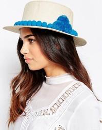 Соломенная шляпа с помпонами 7X - Бежевый