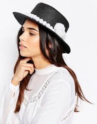 Соломенная шляпа с помпонами 7X - Черный
