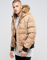 Дутая куртка с воротником из искусственного меха 11 Degrees - Бежевый