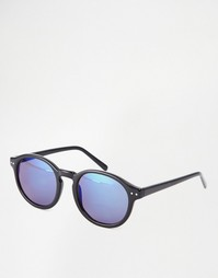 Черные круглые солнцезащитные очки с блестящими стеклами AJ Morgan - Черный