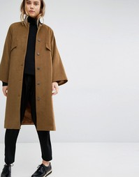 Oversize-пальто без воротника Paisie - Коричневый