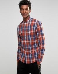 Рубашка в клетку с воротником на пуговицах !SOLID - Красный