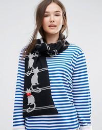 Полосатый шарф с кошачьим дизайном Alice Hannah - Черный