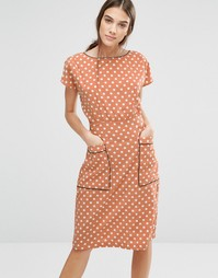 Платье в горошек Trollied Dolly Pocket Rocket - Оранжевый