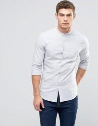 Облегающая рубашка в темно-синюю ломаную полоску ASOS - Темно-синий