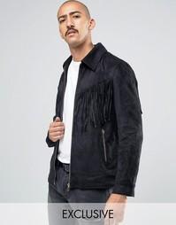 Куртка из искусственной замши с кисточками Liquor & Poker - Черный