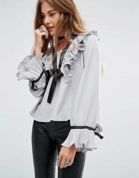 Блузка с длинными рукавами и завязкой у горловины Navy London - Серый