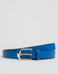 Узкий кожаный ремень Smith And Canova - Синий