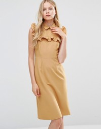 Платье-футляр с оборкой на кокетке Alter - Желтый