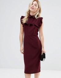 Платье-футляр с оборкой на кокетке Alter - Красный