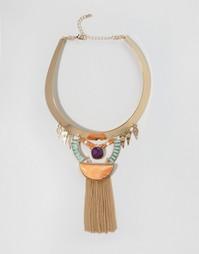 Эффектное ожерелье с бахромой Nylon - Золотой
