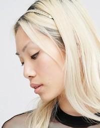 Плетеный ободок для волос Nylon - Золотой
