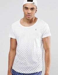 Пляжная футболка с глубоким вырезом и принтом Ringspun Co-ord - Белый
