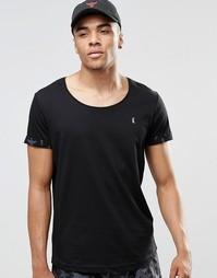 Пляжная футболка с глубоким вырезом и отворотами на рукавах Ringspun - Темно-синий