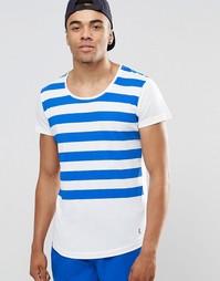 Пляжная футболка с полосками и глубоким вырезом Ringspun - Белый