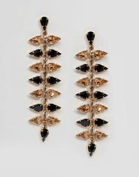 Длинные серьги в форме листиков с кристаллами Swarovski Krystal - Золотой