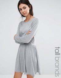 Короткое приталенное трикотажное платье Brave Soul Tall - Серый