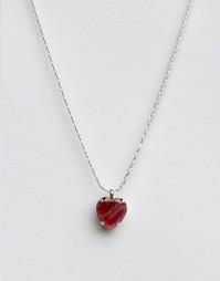 Ожерелье с подвеской-сердцем и кристаллом Swarovski Krystal - Красный