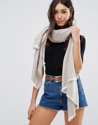 Oversize-шарф с узором в стиле пэтчворк Hat Attack - Бежевый